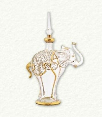 Clear and Gold Small Elephant Egyptian Blown Glass Perfume Bottle