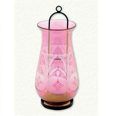 Pink Etched Egyptian Blown Glass Candle Holder Oil Burner Decoration Made Egypt