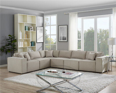 CONTEMPORARY LIVING ROOM Linen L-Shape Sectional Sofa Classic Couch Beige  USA