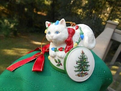 Spode Christmas Decorated  Kitten/ Cat Ornament