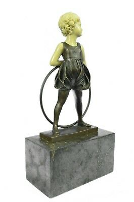 Bronze Sculpture Hand Made Art Statue Children Girl Child Holding Hula Hoop Gift