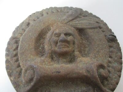 """Vintage Cast Iron Piece With American Indian Head 3 1/2"""" Diameter 5 1/2"""" Long"""