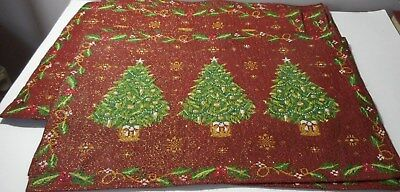 8 Red woven Tapestry Christmas Tree Placemats glitter decorations Luxurious SEE