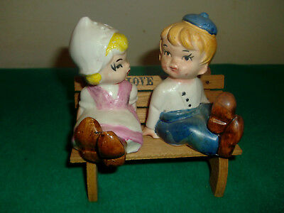VINTAGE SALT PEPPER SHAKERS JAPAN   CUTE BOY and GIRL ON BENCH
