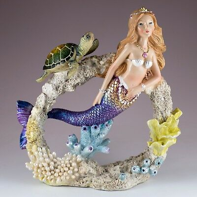 """Mermaid With Green Sea Turtle Swimming Through Faux Coral 8.25"""" High Resin New!"""