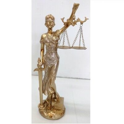 Gold Lady of Justice with Scales and Sword Figurine 13 x 6 Inch New