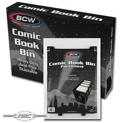 Short Comic Book Bin + 3-Pack of Partitions - Black Plastic Storage Box by BCW