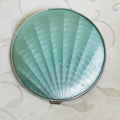 Large Vintage Mint Green Faux Guilloche Powder Compact Circa 1940