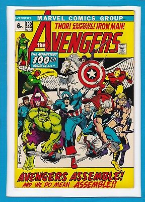AVENGERS #100_JUNE 1972_FINE+_SPECIAL 100th ANNIVERSARY ISSUE_BARRY SMITH_UK!