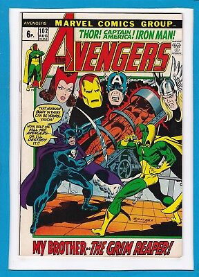 """Avengers #102_August 1972_F/vf_""""my Brother...the Grim Reaper""""_Bronze Age Uk!"""