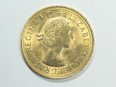 Münze Gold 1 Pfund Sovereign Goldmünze Elisabeth 1958 England 916