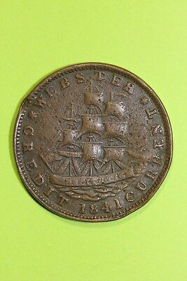 1841 Hard Times Token Not One Cent for Tribute Very Bent OCE 005