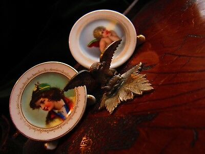3 victorian menu holders table markers 2 miniature painted plates one eagle
