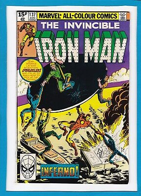 """Invincible Iron Man #137_August 1980_Very Fine+_""""inferno""""_Bronze Age Marvel_Uk!"""