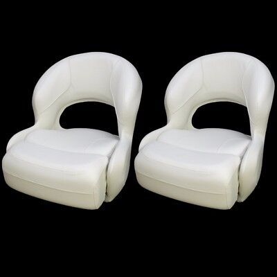 Deluxe White Vinyl Boat Bolster / Bucket / Drivers Seating Seat Chairs (Pair)