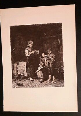 Munkacsy etching 1881 antique print womand with children