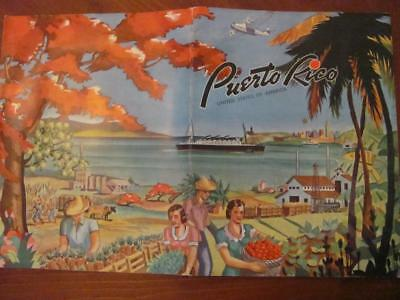 Vintage 1940 PUERTO RICO USA Travel Brochure Booklet w/Pictorial Map Stats