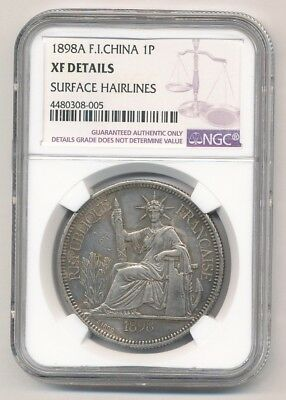 1898A French Indo China Silver 1 Piastre Ngc Xf Details Surface Hairlines -Oldml