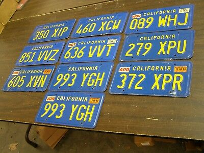 Lot of 10 California Blue License Plates 1979 1980 Nice Condition 1 Pair