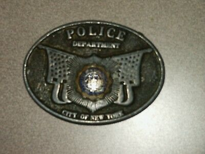 RARE Vintage NYPD Belt Buckle City of New York Police Department Lieutenant
