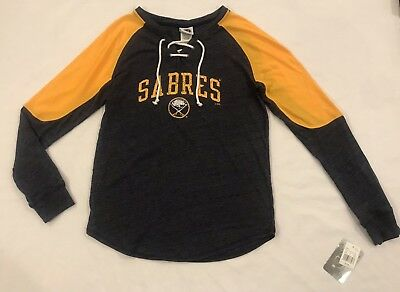 Buffalo Sabres NHL Women's Lace-Up Long Sleeve T-Shirt Size Small - Navy & Gold