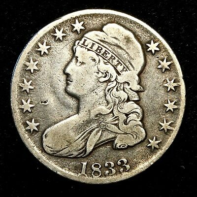 1833 ~**BETTER GRADE**~ Silver Capped Bust Half Dollar Antique US Old Coin! #X65