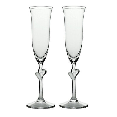 Stolzle Clear Heart Champagne Flutes Set of 2 Love Wedding Couple Gift Set