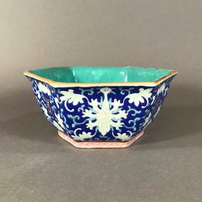 19th c. Chinese Blue Ground 'Lotus and Bat' Bowl with Four Character Mark