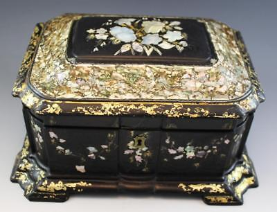 19C English Victorian Paper Papier Mache Sewing Jewelry Box w/ MOP Inlay