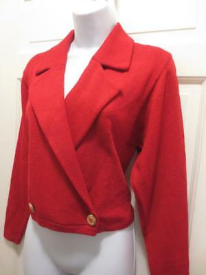 ST. JOHN By Marie Gray Womens LIPSTICK RED Santana Knit BLAZER Jacket Small