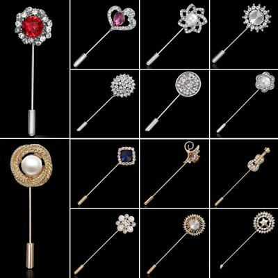 Fashion Wedding Women Pearl Crystal Zircon Breastpin Brooch Collar Pin Jewelry