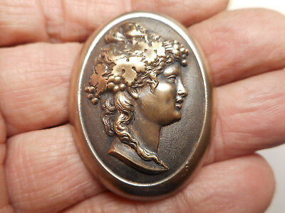"""Large Oval Brass Woman Cameo Button w/ Great Detail 1-11/16"""""""