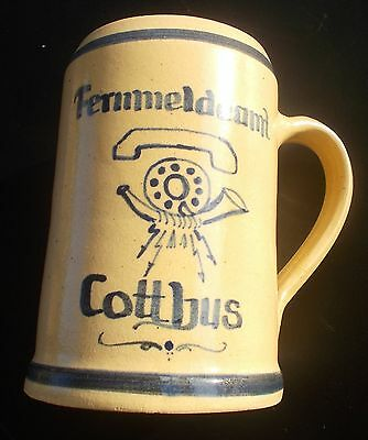Beer Stein Jug Stoneware? Telecommunication Cottbus Probably Hand Painted Unicum