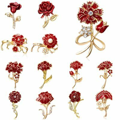 Bowknot Carnation Flower Rose Women Crystal Breastpin Brooch Corsage Pin Jewelry