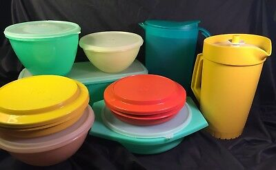 Large Lot Tupperware Vintage Contemporary Mix 9 Containers with Lids