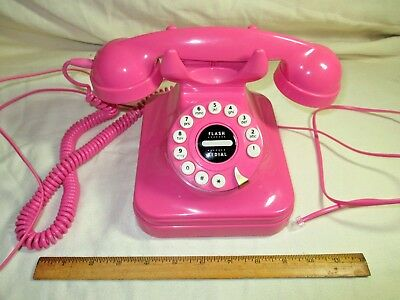 Retro Pink Desk Push Button Phone by Grand Phone - Pulse/ Tone