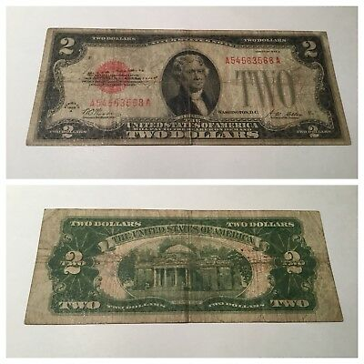 Vintage 1928-A $2 United States Note Two Dollar Bill Jefferson Red Seal Dollars