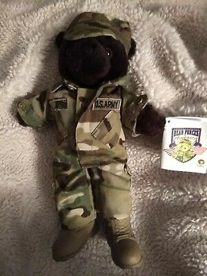 """NWT Bear Forces of America US Army Standing Teddy Bear in Camoflauge Uniform 12"""""""