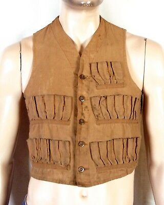 vtg 20s 30s early Men's Duck Canvas Hunting Vest Older Buttons 60 slots SZ S