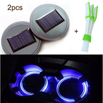 2PC Solar Cup Pad Car Accessories LED Light Cover Interior Decoration Lights R6