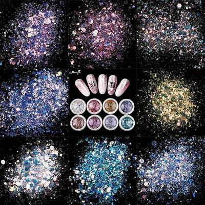 New 8 Nail Art Glitter Sequins Powder Dust for UV Gel Acrylic Decoration Tips