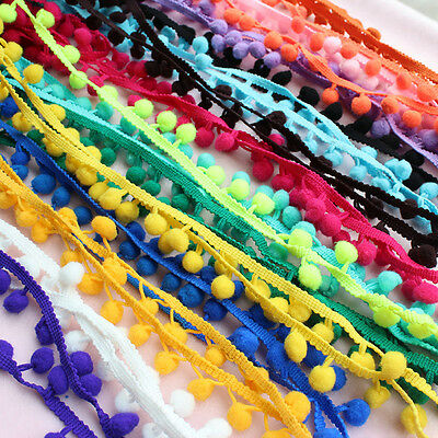 1M 10mm Ball Pom Pom Bobble Trim Braid Fringe Ribbon Edging Craft Decor