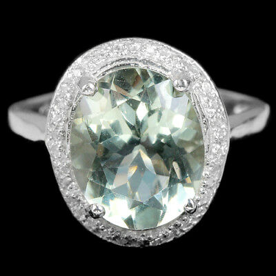 Natural Aaa Green Amethyst Oval & White Cz Sterling 925 Silver Ring Size 7.5