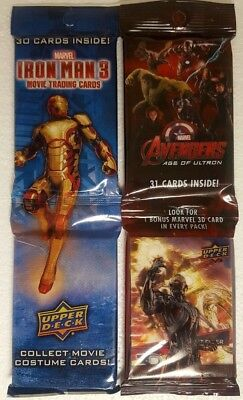 Marvel Trading card Racks x 2  IRON MAN 3  + AVENGERS : AGE OF ULTRON Upper deck