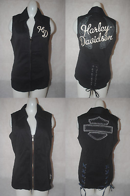 8363926cdc3269 New Harley-Davidson Women s Black Lace-Back Zipper-Front Sleeveless Shirt