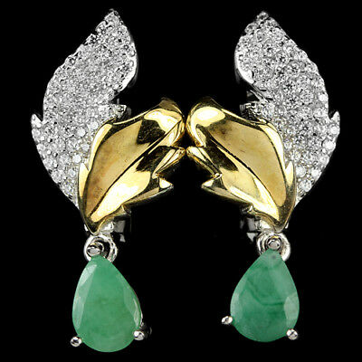 Natural Green Emerald Pear & White Cz Sterling 925 Silver 2-Tone Leaf Earring