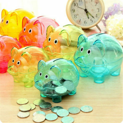 Cute Plastic Piggy Bank Coin Money Cash Collectible Saving Box Pig Toy Kids UK E