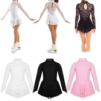 Girl Figure/Roller Ice Skating Dress Lace Mock Neck Long Sleeve Training Costume