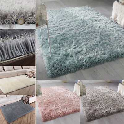 6cm Long Pile Thick Dazzle Sparkle Silky Shimmer Shaggy Rug Floor Area Mat Cover