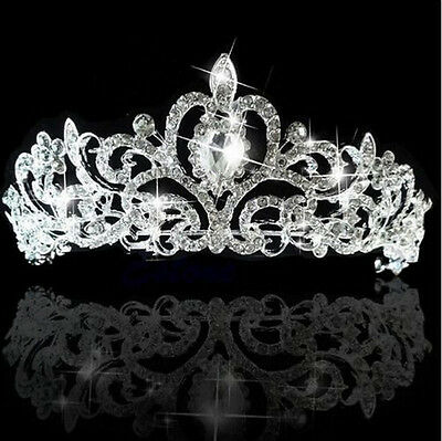 Bridal Princess Tiara Wedding Austrian Stunning Crystal Hair Crown Veil Headban